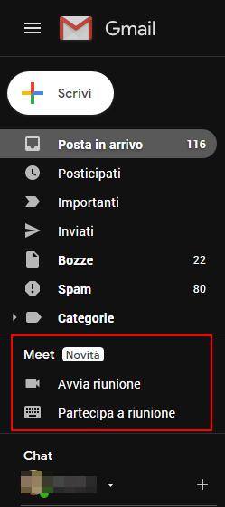 """il nuovo riquadro """"Google Meet"""" all'interno dell'interfaccia web di Gmail."""