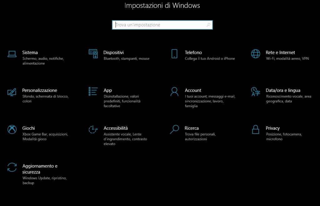Impostazioni di Windows - Cortana è scomparsa