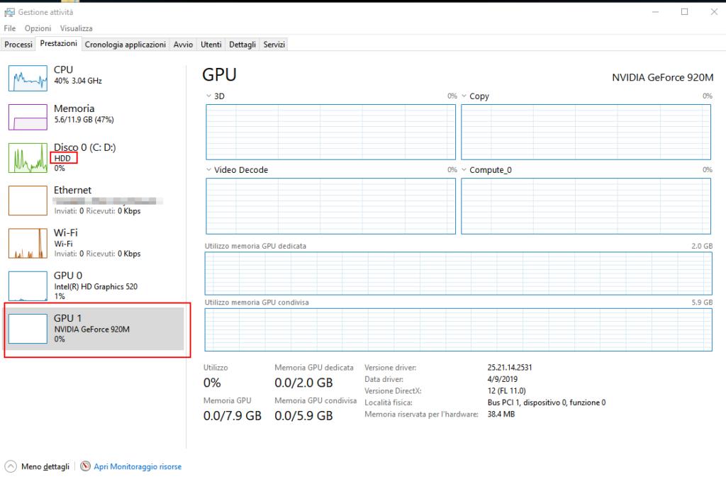 Gestione Attività aggiornato con info su tipo hard disk e temperatura GPU