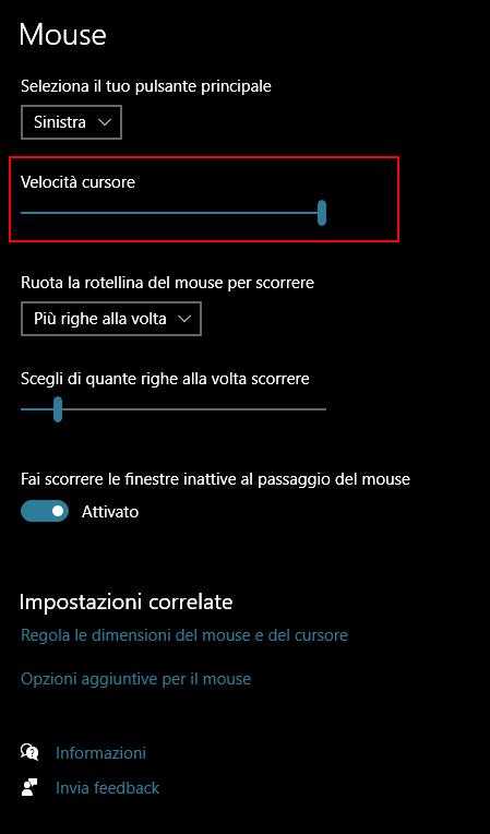 imposta la velocità del cursore direttamente nelle impostazioni e non più solo nel vecchio pannello di controllo mouse.